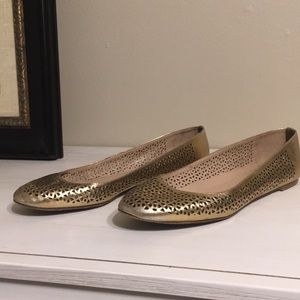 J. Crew Perforated Gold Flats 9.5
